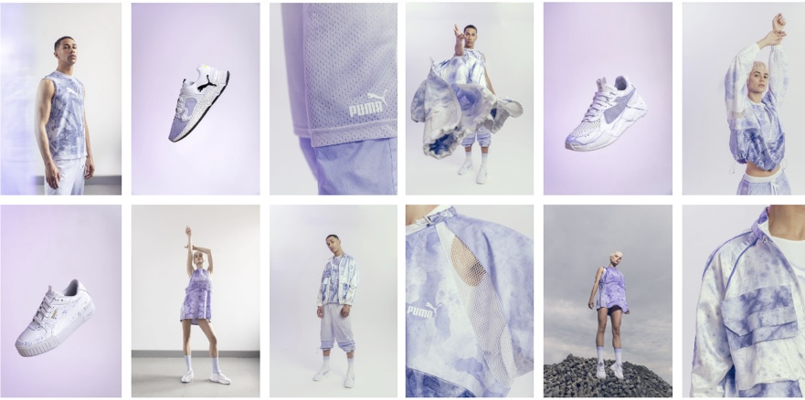 clothing designs with purplish bacterial dyes