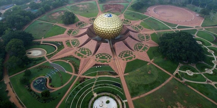 Auroville aerial view with temple in centre