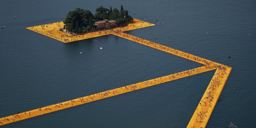 Christo art installation on Lake Iseo