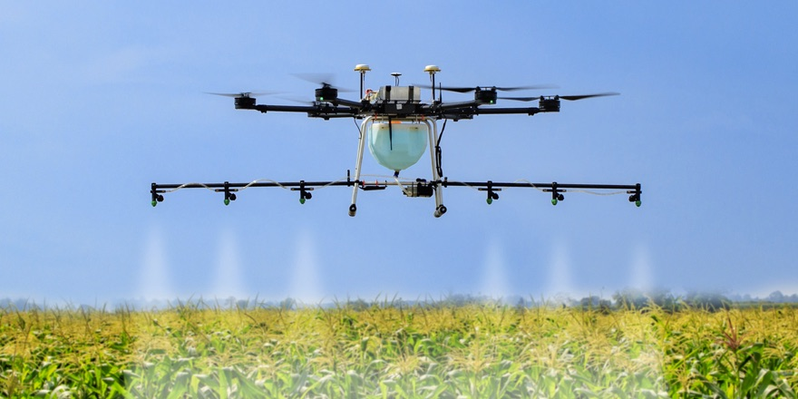 a drone spraying crops