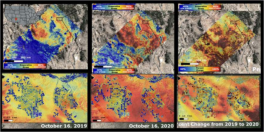 Set of aerial photographs documenting change in drought in Colorado - October 2019-2020