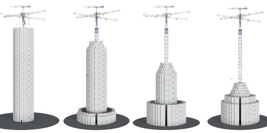 Diagram of how the energy vault tower is constructed and deconstructed