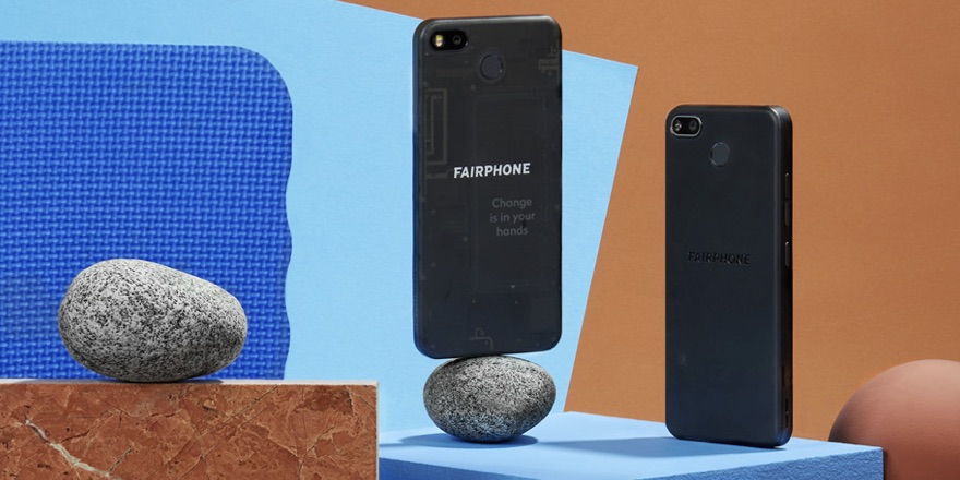 Smartphones balanced on rocks
