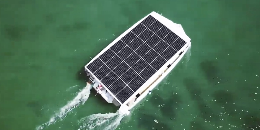 solar boat seen from above with roof covered with solar panels
