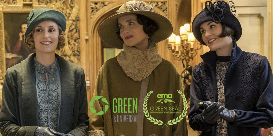 stars of Downton Abbey with Green Awards logos