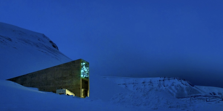seed vault in Norway during winter night