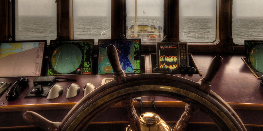 computer monitoring screens in a boat