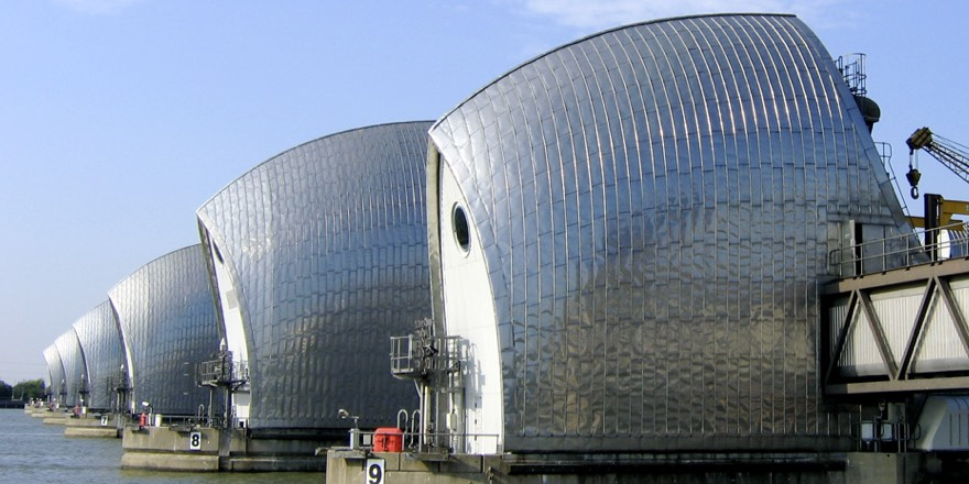 thames barrier seen from the side