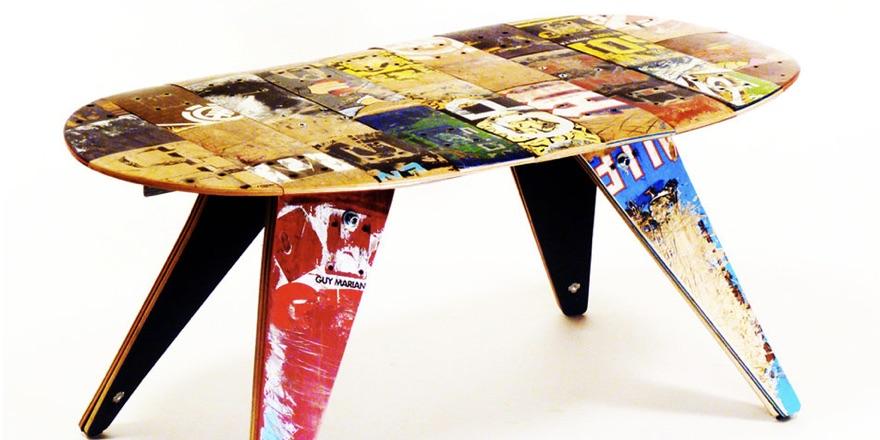 recycled skateboard stool