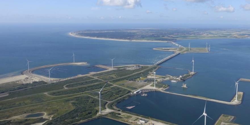 aerial view of wind turbines in Holland