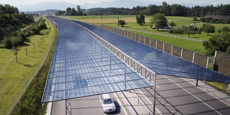 solar panel roof on road
